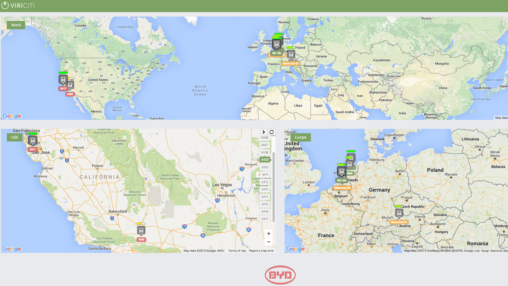 An overview of a BYD electric bus fleet in Europe and the US. The overview is based on real-time data retrieved with ViriCiti's vehicle monitoring software and hardware.